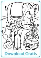 Circus olifant en hond gratis kleurplaat